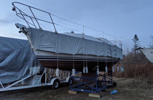 CS34 with winter boat cover