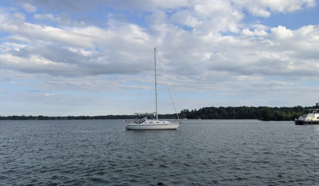Our CS34 anchored off Huckleberry Island.