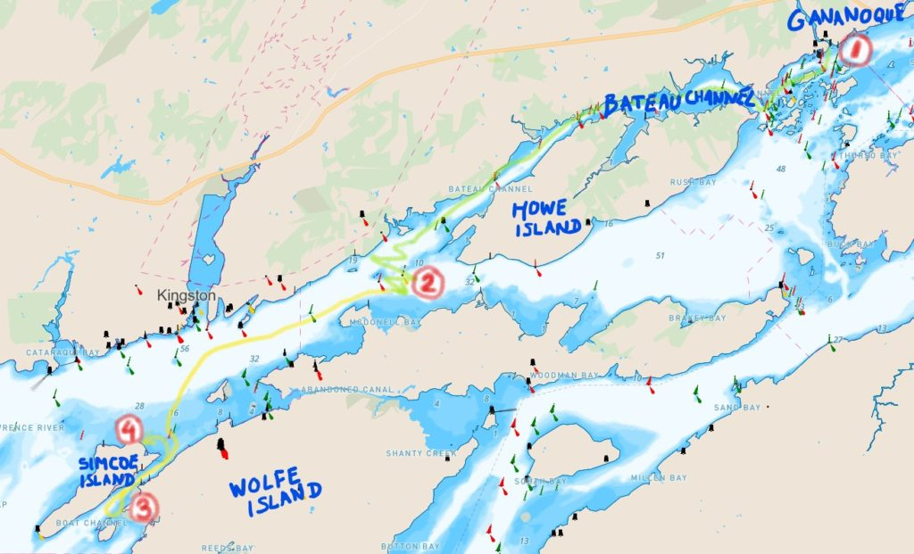 Map of route taken from Gananoque Marina to Simcoe Island