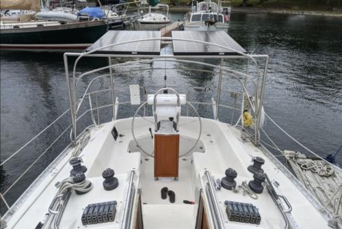 sailboat cockpit with solar panels