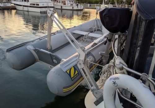 sailboat dingy and davits