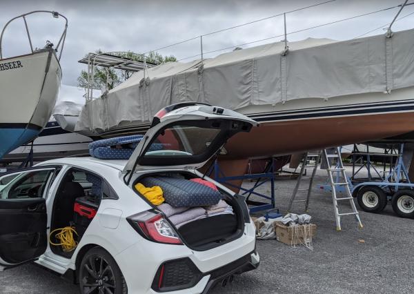 sailboat cover at boat yard